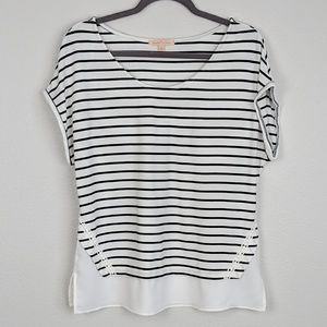Gibson Latimer Striped Tee with Embroidered Detail